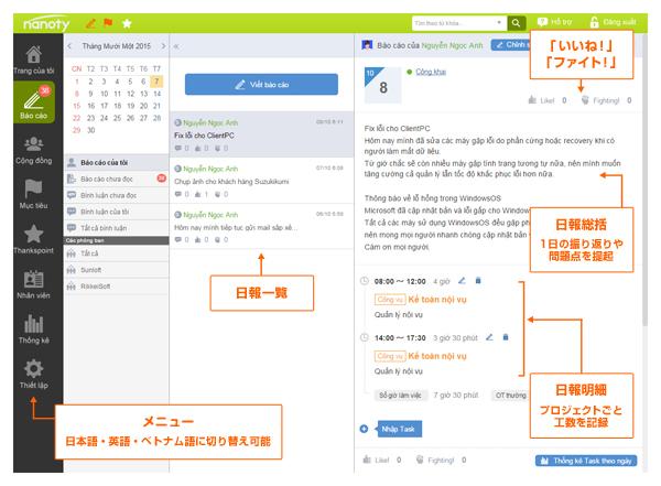 ベトナム語のメニュー表示画面