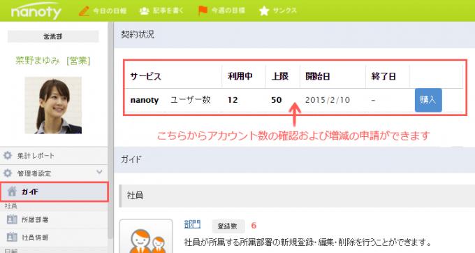 社内SNS ユーザー数増減申請