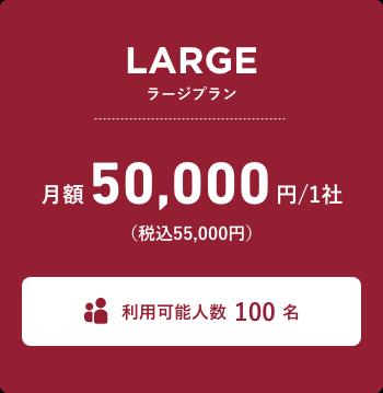 ラージプラン 月額45,000円(税込49,500円) 利用可能人数20名